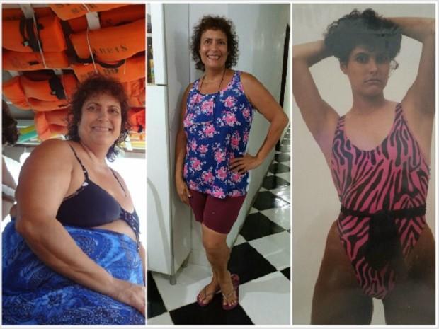 Da esquerda para a direita, Patricia com mais de 120 Kg, após o emagrecimento e na época de modelo (Foto: Arquivo Pessoal)
