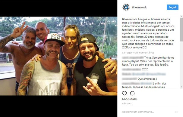 Integrantes do Tihuana anunciam fim da banda (Foto: Reprodução/Instagram)