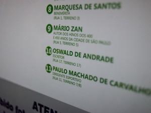 Indicações dos túmulos na visita guiada pelo Cemitério da Consolação (Foto: Marcelo Brandt/G1)