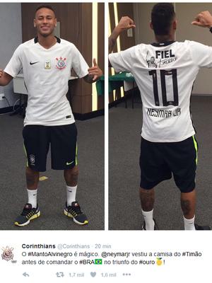 Neymar com a camisa do Corinthians (Foto  Reprodução do Twitter) af6494b80fc8b