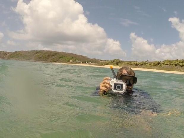 Leo Veras (foto) e Zaira Matheus foram autorizados a mergulhar para investigar ataque em Noronha (Foto: Divulgação/Zaira Matheus )