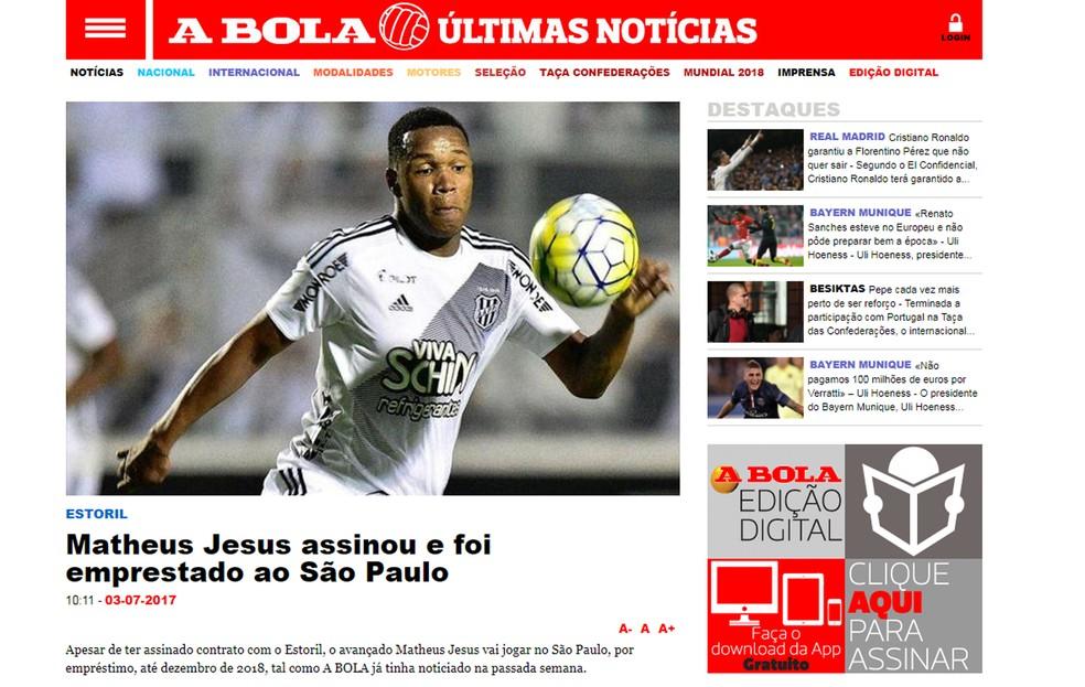 Negociação de Jesus com São Paulo está certa, garante jornal (Foto: Reprodução / A Bola)