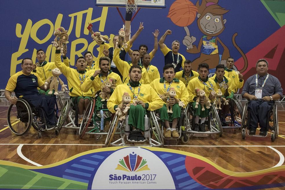 Brasil conquistou o ouro no basquete em cadeira de rodas no último dia do Parapan de Jovens (Foto: Alexandre Urch/MPIX/CPB)