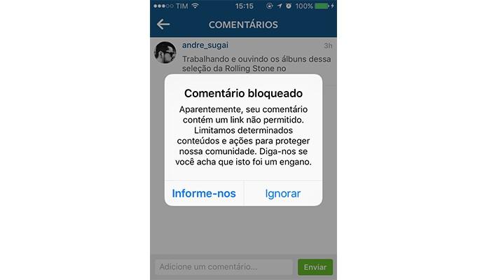 Links bloqueados no Instagram (Foto: Reprodução/André Sugai)