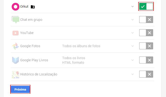Dados de vários serviços do Google pode ser baixados em um único arquivo (foto: Reprodução/Google Takeout)
