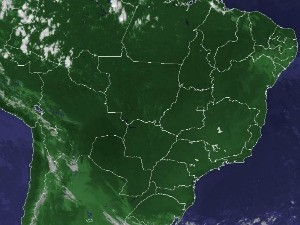 Imagem de satélite capturada na tarde desta quinta-feira (1°) (Foto: Reprodução/Cptec/Inpe)
