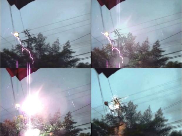Internauta flagrou raio caindo em poste no Jardim Paulista em São Carlos (Foto: Julio Cesar dos Santos/VC no G1)