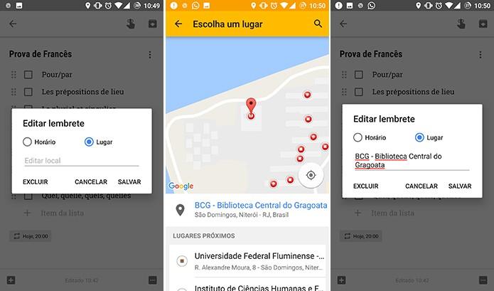 Google Keep pode configurar lembretes com base na localização do usuário (Foto: Reprodução/Elson de Souza)