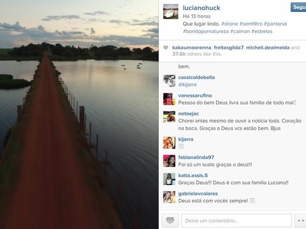 Luciano postou no Instagram um vídeo do Pantanal e fãs deixaram mensagens de apoio após notícia do pouso forçado (Foto: Reprodução/Instagram)
