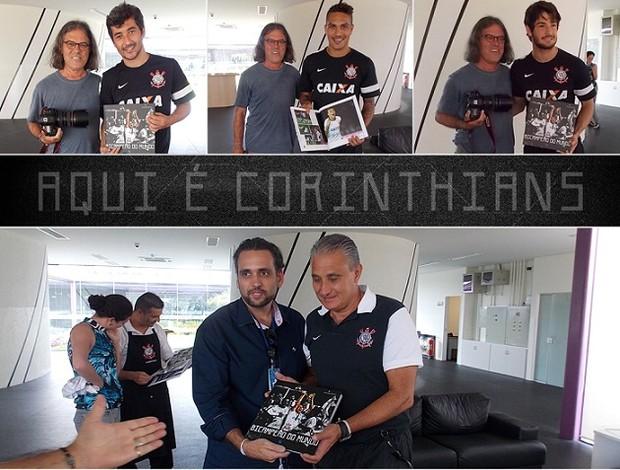 Jogadores do Corinthians receberam livro do bi mundial (Foto: Divulgação)