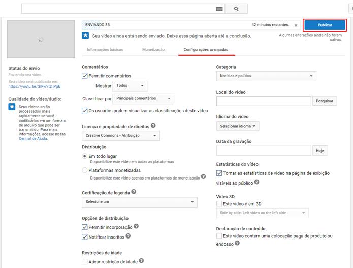 Opções avançadas do vídeo podem ser configurados antes do fim do carregamento (Foto: Reprodução/João Kurtz)