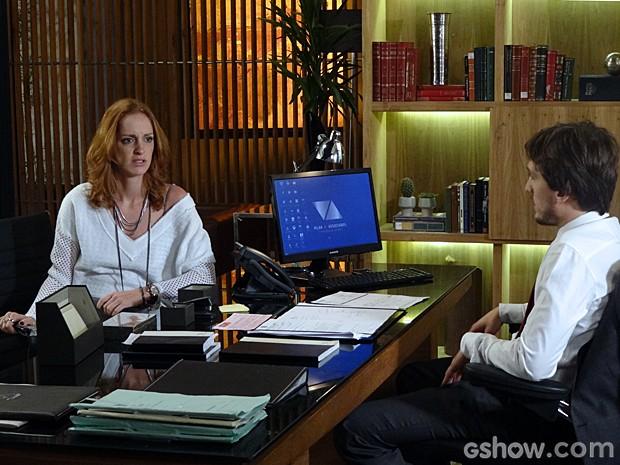 Priscila não consegue contar para Marcelo que está grávida (Foto: Além do Horizonte/TV Globo)