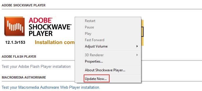 Acessando a opção de atualização do Shockwave Player (Foto: Reprodução/Edivaldo Brito)