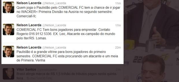 Nelson Lacerda inova e anuncia vagas para jogadores via Twitter (Foto: Divulgação / Twitter)