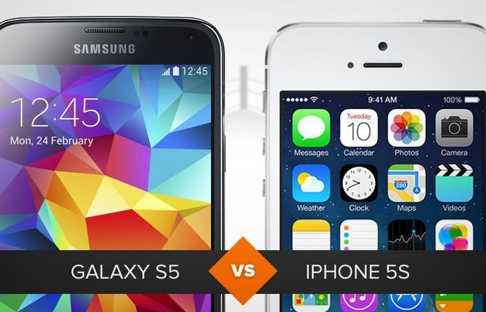 S5 e iPhone 5S representam briga Android e iOS (Foto: TechTudo)