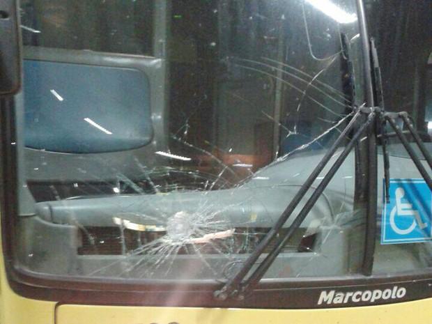 Foto de ônibus está entre imagens compartilhadas; comandante não confirma tiroteio (Foto: Reprodução Whatsapp)