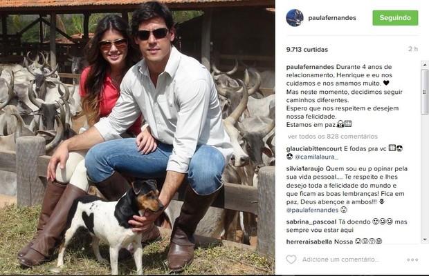 Paula Fernandes termina o namoro e faz desabado na web (Foto: Reprodução do Instagram)
