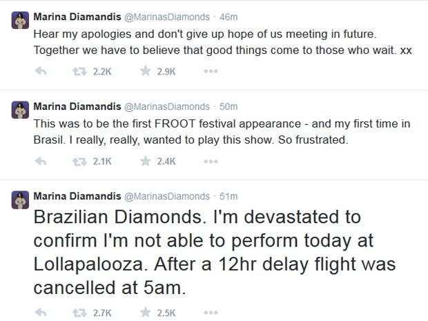 Marina Diamandis pediu desculpas para os fãs pelo Twitter e lamentou não conseguir chegar ao Brasil (Foto: Reprodução/Twitter/Marina Diamandis)