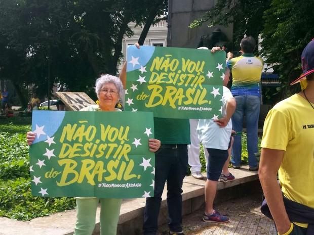 Manifestação contra Dilma em Piracicaba  (Foto: Laila Braghero/G1)
