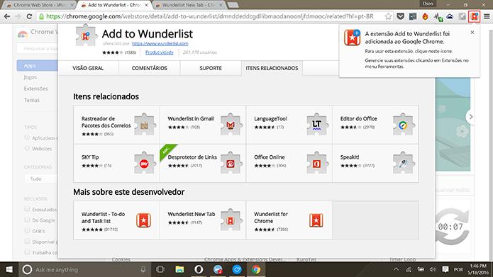 Add to Wunderlist aparecerá no Chrome após a instalação (Foto: Reprodução/Elson de Souza)