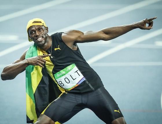 Usain Bolt comemora sua vitória na Rio 2016 (Foto: Ricardo Nogueira)