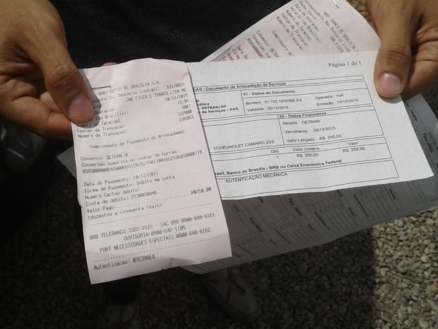 Taxa de leilão paga pelo empresário (Foto: Jéssica Simabuku/G1)