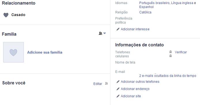 Adicione informação ao Facebook (Foto: Reprodução/Facebook)