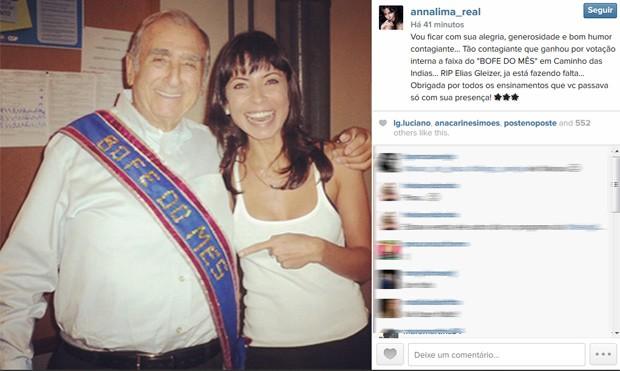 Anna Lima publicou homenagem a Elias Gleizer em sua conta no Instagram (Foto: Reprodução/Instagram)