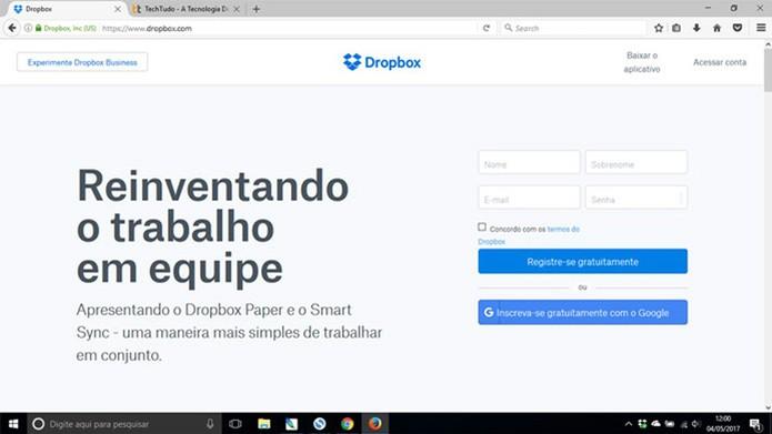 Acesse o site do Dropbox pelo navegador (Foto: Reprodução/Pedro Cardoso)