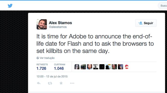 Chefe de segurança do Facebook, Alex Stamos, reclama do Flash no Twitter (Foto: Reprodução/Twitter)