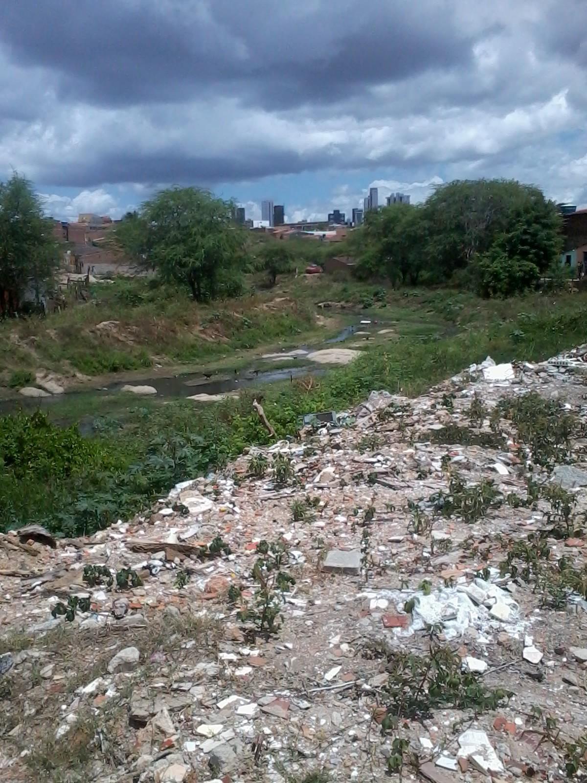 Dejetos pioram situação do riacho, que já está poluído. (Foto: Internauta/ VC no G1)