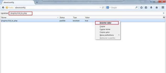 Selecione Inverter valor e reinicie o navegador (Foto: Reprodução/Mozilla Firefox)