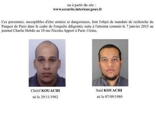Chérif Kouachi e Said Kouachi, suspeitos do ataque à revista 'Charlie Hebdo' (Foto: Divulgação)