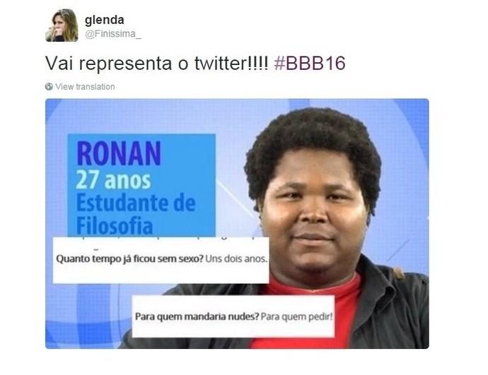 Ronan mostrando como o twitter se sente (Foto: Reprodução Internet)