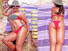 Solange Couto usa biquíni e mostra frente e verso na praia aos 58 anos
