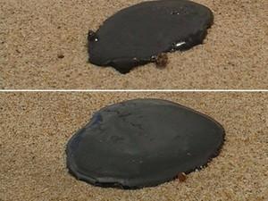 Várias manchas de óleos foram encontradas próximo ao mar da Praia do Bessa (Foto: David Montenegro/Arquivo Pessoal)