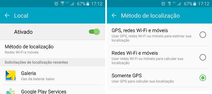 Selecione a opção GPS e evite a busca contínua de localização do Google