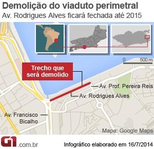 Mapa do último trecho da Perimetral que será demolido (Foto: Arte/G1)