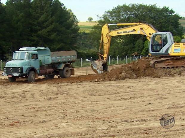 Obras do Lavrastec começaram em Lavras (Foto: Reprodução EPTV)