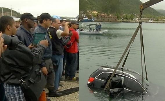 Queda de carro no Canal do Itajuru atrai curiosos (Foto: Reprodução / Inter TV)