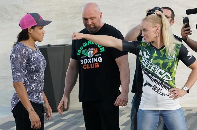 Amanda Nunes Valentina Shevchenko encarada UFC 215 (Foto: Evelyn Rodrigues)
