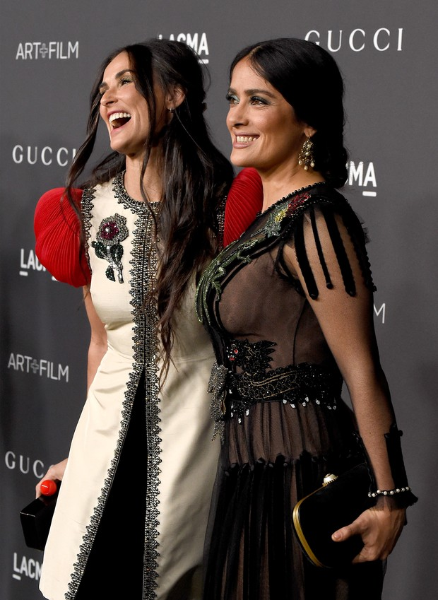 Demi Moore e Salma Hayek em evento em Los Angeles, nos Estados Unidos (Foto: Frazer Harrison/ Getty Images/ AFP)