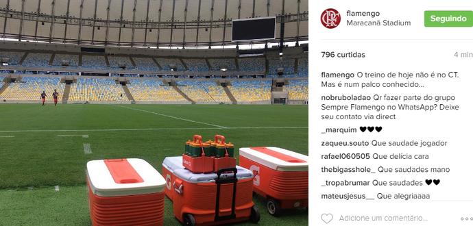 Flamengo treina no Maracanã neste sábaod (Foto: Reprodução)
