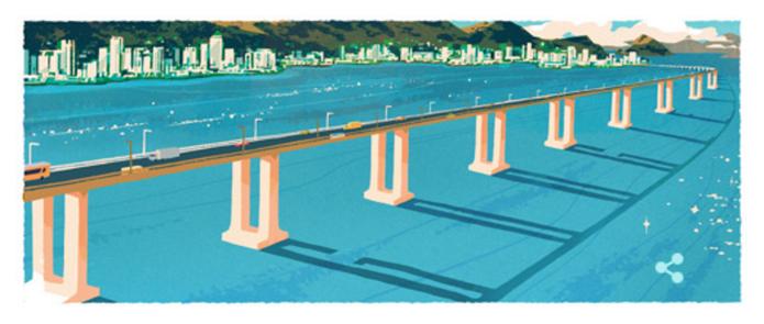 Doodle do Google tem homenagem a Ponte Rio-Niterói (Foto: Reprodução/Google)