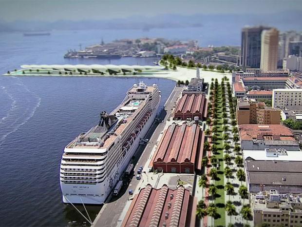 Imagem aéra de como ficará o Porto Maravilha, segundo o projeto (Foto: Reprodução / Porto Maravilha)