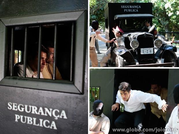 Franz aproveita o plano de fuga dos colegas de cela e também escapa (Foto: Pedro Curi/Joia Rara)