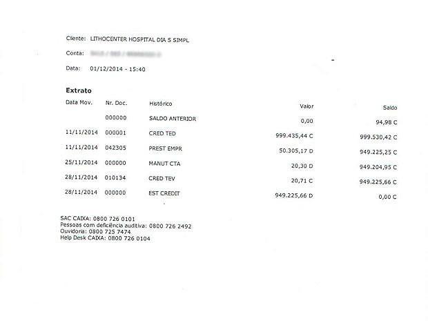 Extrato da conta onde foi depositado quase R$ 1 milhão (Foto: Arquivo Pessoal)