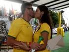 Fran e Diego comemoram com beijo apaixonado a vitória do Brasil