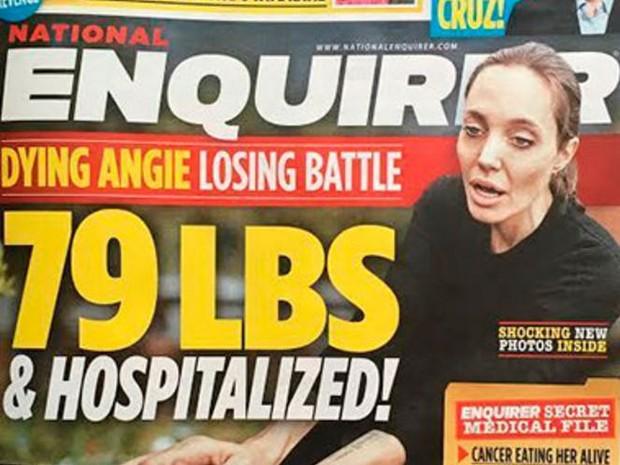Tabloide The National Enquire noticiou que Angelina Jolie foi internada (Foto: Reprodução)