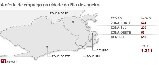 Mapa do emprego do Rio - 14/02/13 (Foto: Editoria de arte/G1)